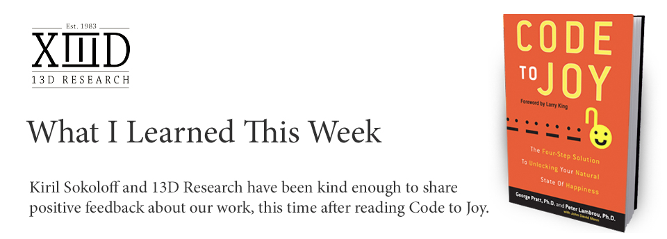 "Code to Joy Featured in 13D Research ""What I Learned This Week"" Update"
